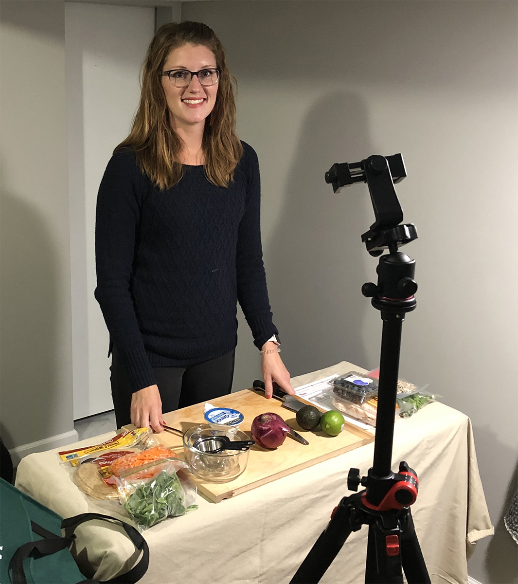 Extension Educator Emily Gratopp presenting a virtual nutrition lesson