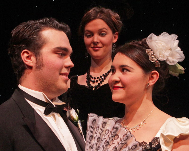 "Students Nate Ruleaux, Calandra Daby and Emily Martinez in ""Lady Windermere's Fan."""