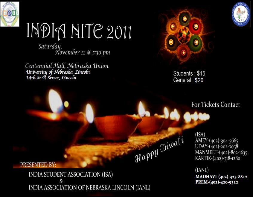 Tickets for india nite on sale nov 7 announce university of india nite flyer 2011g stopboris Choice Image