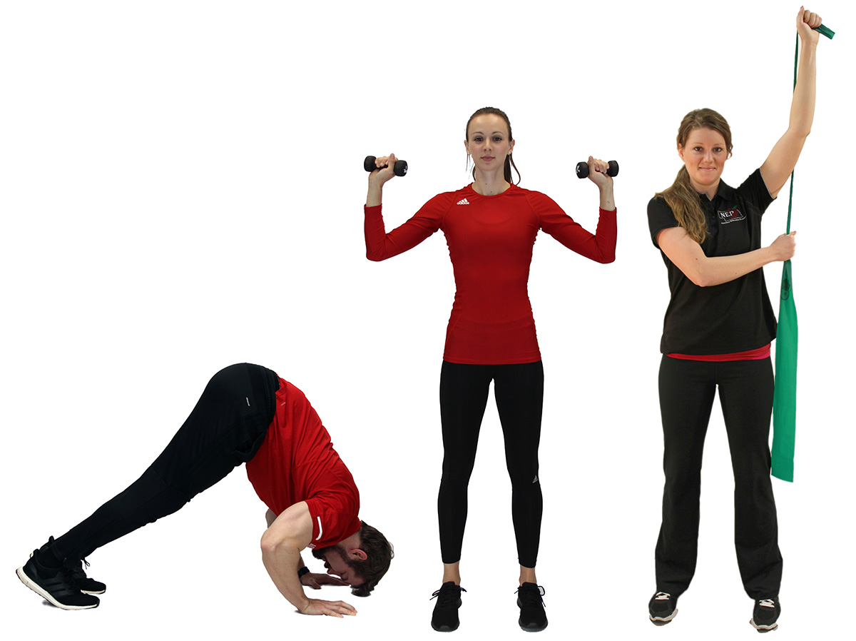 Shoulder press with body weight (right), with dumbbells (center) and with a resistance band (right).