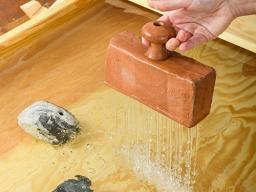"Caroline Woolard, ""A Brick Holds Water,"" terra cotta, water, commitment to practice. 2.5"" x 3.5"" x 10"", 2020. Woolard will present the Hixson-Lied Visiting Artist Lecture on Feb. 3."