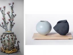 """Left: P.J. Hargraves, """"Gathering Pot,"""" 53"""" x 24"""" x 24"""", ceramic, cone 6 salt fired stoneware, porcelain glaze and rare earth oxide; Right: Max Henderson, Vessels, 2020, 10"""" x 5"""" x 6"""", porcelain and maple."""