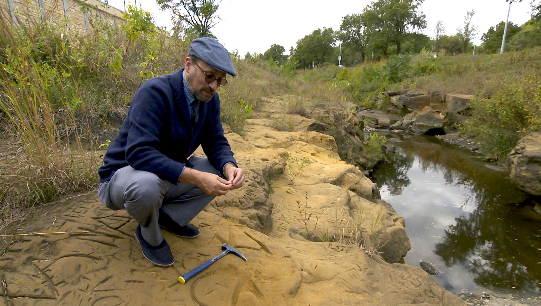 "University of Nebraska-Lincoln School of Natural Resources associate director and state geologist Matt Joeckel revisited the discovery of dinosaur tracks in Nebraska in a recent episode of ""Nebraska Stories"" on NET. Courtesy NET Nebraska"