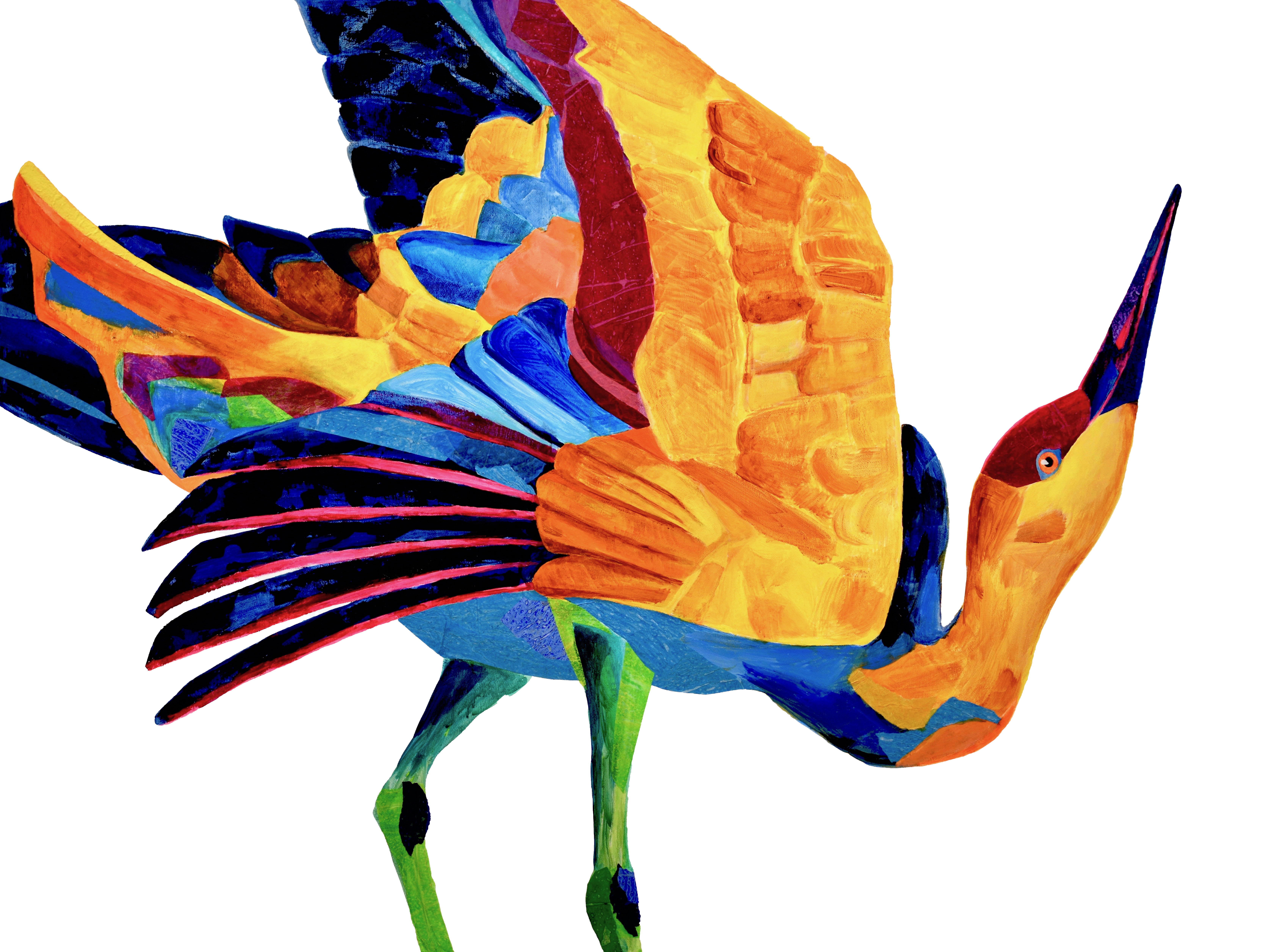 """Jude Martindale's """"Crane of Another Color"""" is one of many avian artworks on display in two Great Plains Art Museum exhibits. Courtesy of the artist"""