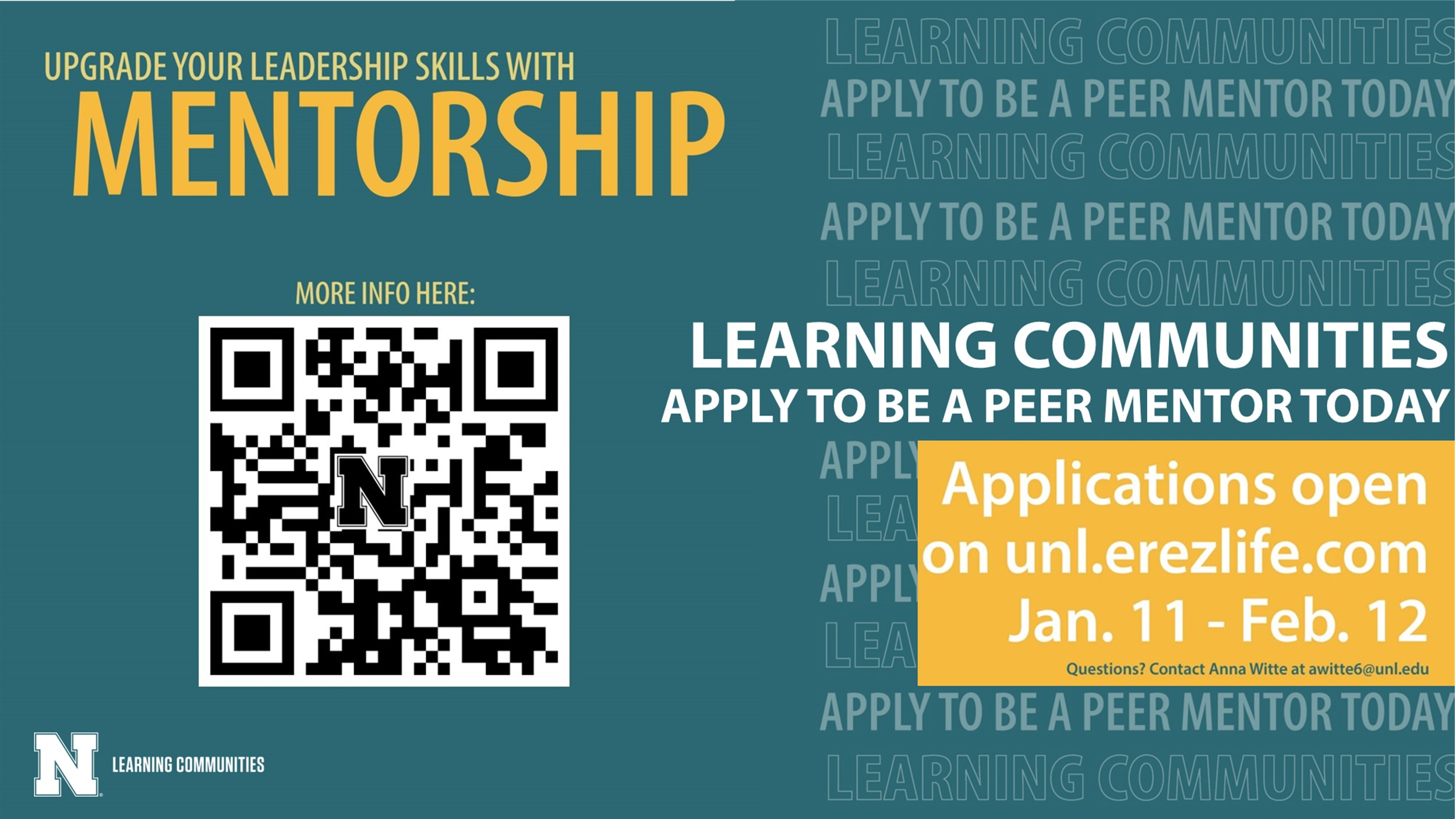 Sophomores, juniors, and seniors can apply for Learning Community Peer Mentor positions until February 12, 2021.