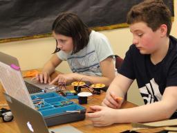 Students in Lori Feldman's Lux computer science class.