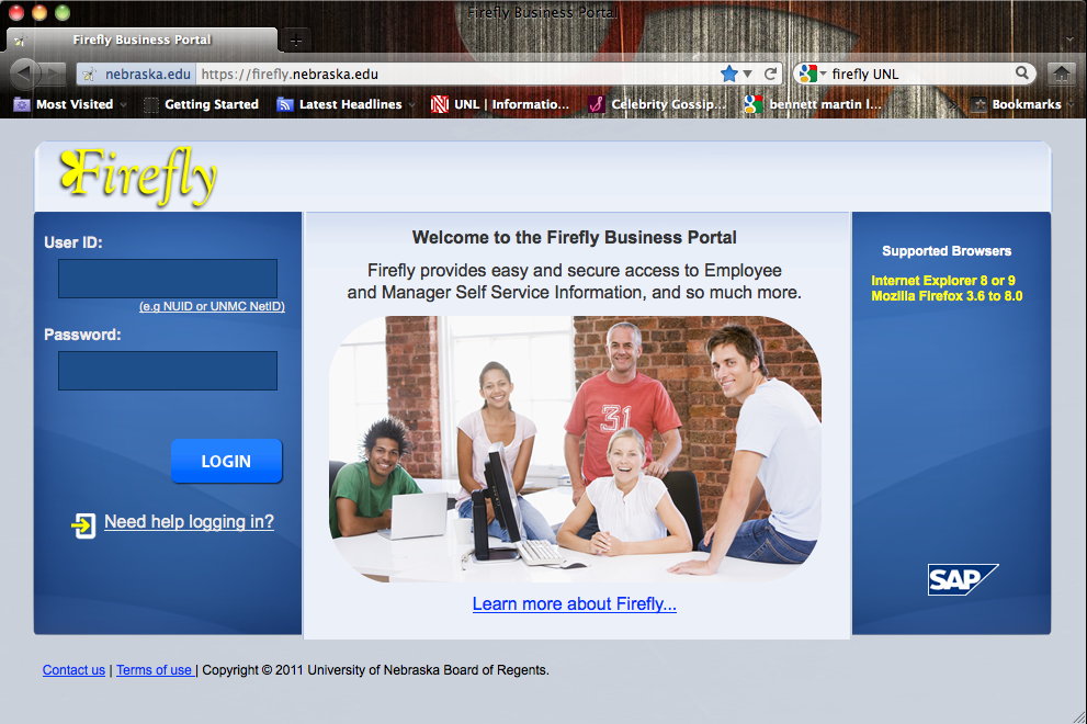 The Firefly business portal is available at http://firefly.nebraska.edu.
