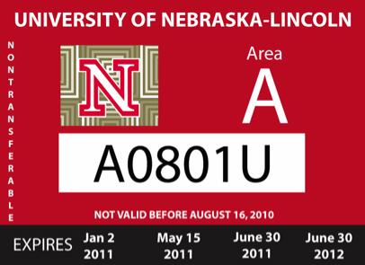 A UNL faculty/staff parking permit.