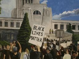 "Alyssa Kobza, ""Protest at the Capitol,"" Gouache on panel, 27""x16""x2"", 2020."