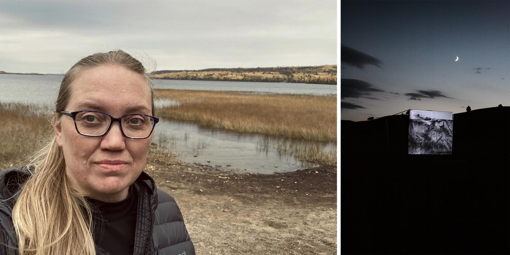 "Left:  Catherine Meier. Right: Catherine Meier, ""August 29, 2014, 9:02 p.m., Standing Witness, site: Sage Creek."""