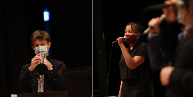 Jazz Orchestra trumpet player Ben Waxberg (left) and Jazz Singer Brannon Evans perform as part of the Fall 2020 concert. The Jazz Orchestra and Jazz Singers will perform March 3 via live webcast.