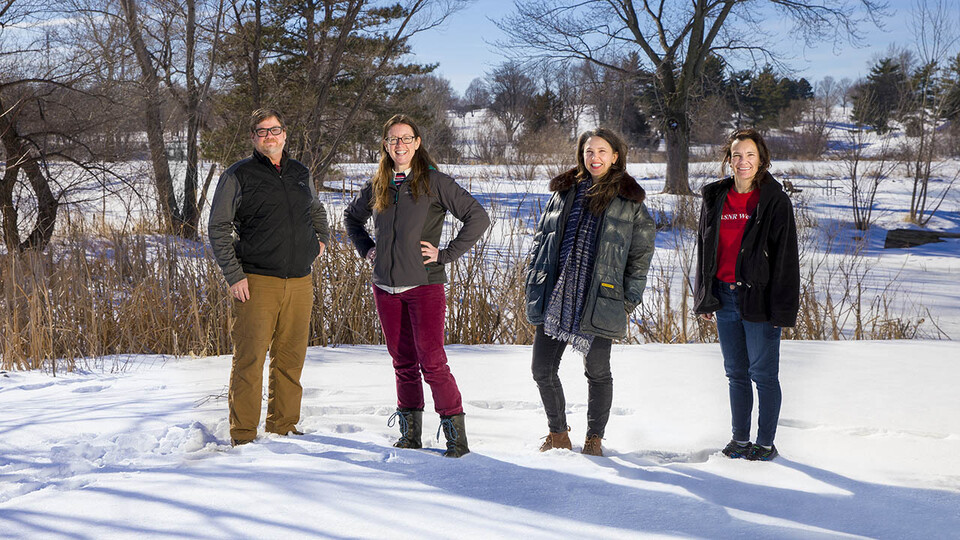 Husker researchers Steven Thomas, Jessica Corman, Katie Anania and Jennifer Clarke are leading a $6 million multi-institutional project to build a database that will enable scientists to track the changing ecology of waterways across the U.S.