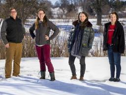 Husker researchers Steven Thomas, Jessica Corman, Katie Anania and Jennifer Clarke are leading a $6 million multi-institutional project to build a database that will enable scientists to track the changing ecology of waterways across the U.S. Pictured at