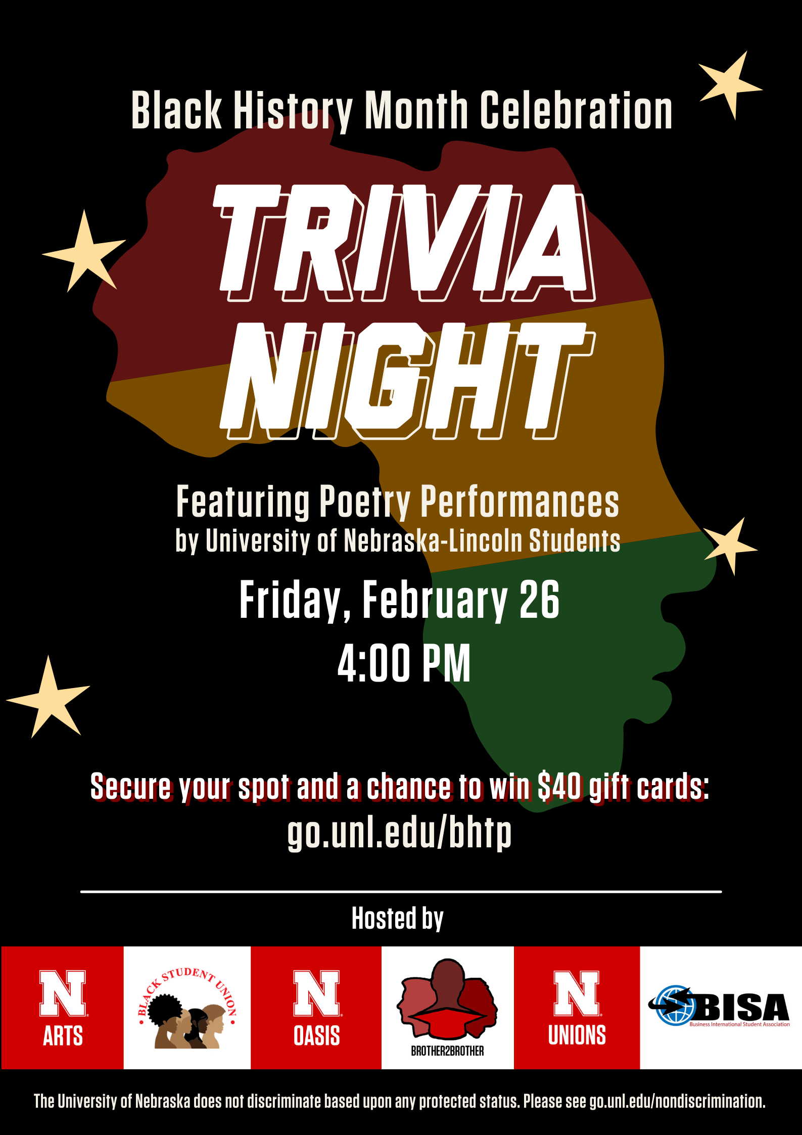 Join in for fun trivia games and poetry performances. Winners and lucky participants may win various prizes, and the top winner will receive a $40 gift card!