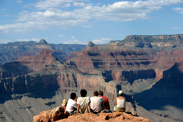 UNL students enjoy the view from their Yuma Point campsite in Grand Canyon National Park.