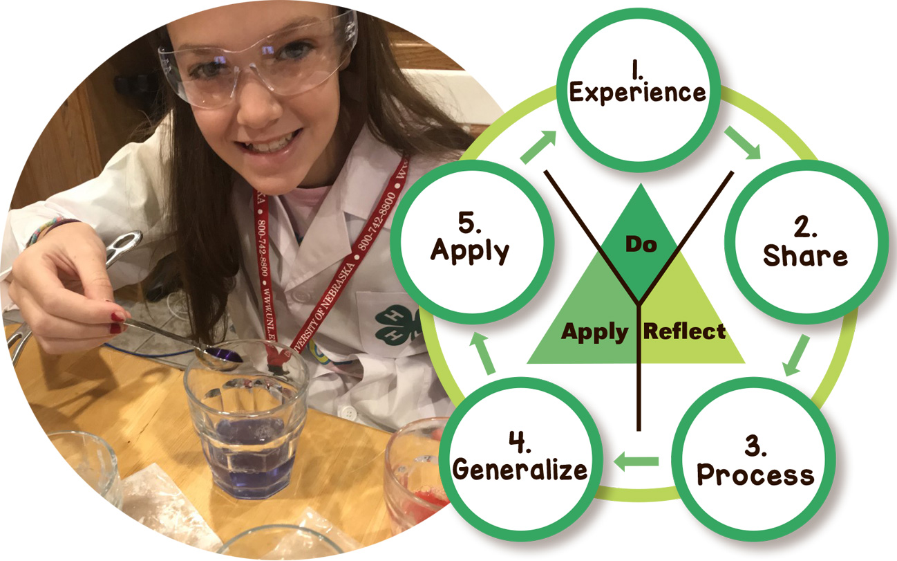 (Left) 4-H Food Science Virtual Workshop. (Right) Experiential Learning Model (source: Kolb, D.A.)