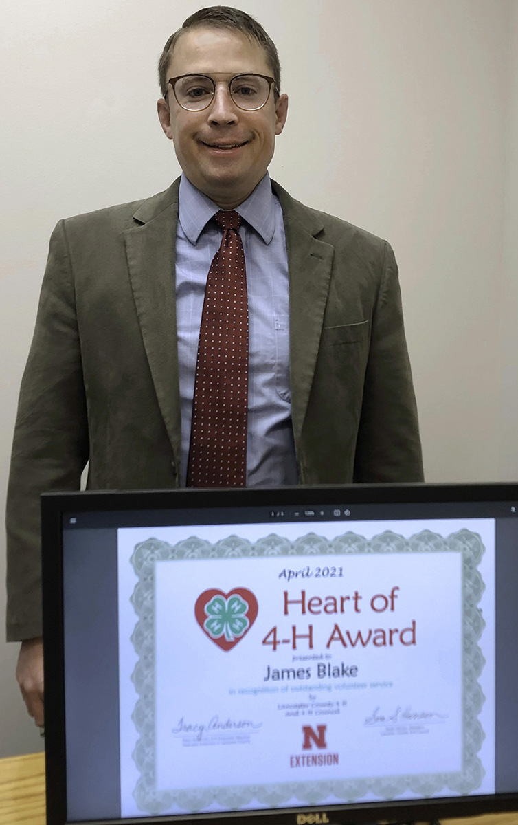 James Blake With Heart of 4-H Award certificate