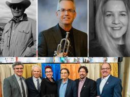 Clockwise from upper left: Maurice M. Dixon, Jr.; Robert Krueger; Kara Thomson; The Johnny Carson Foundation with Dean Chuck O'Connor and Carson Center Founding Director Megan Elliott.