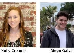 Two of Nebraska's honorees are Diego Galvan, a senior mathematics major, and Molly Creagar, a graduate student in mathematics.