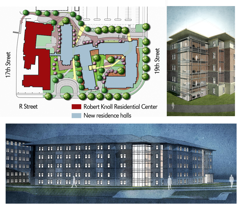Construction of two new suite-style residence halls east of the Robert Knoll Residence Center will begin in December.