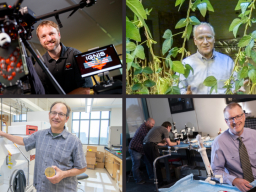 Clockwise, from top left: Carrick Detweiler, CEO of Drone Amplified; Michael Fromm, CEO of Epicrop Technologies; Shane Farritor, CTO of Virtual Incision; and Bob Hutkins, a founding faculty member of Synbiotic Health. The four companies were selected to s