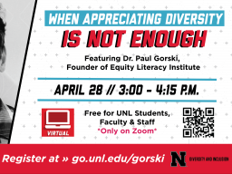 """Join UPC Nebraska and the Global Nebraska Coalition on Diversity and Inclusion on April 28 at 3 PM for """"When Appreciating Diversity Is Not Enough."""""""