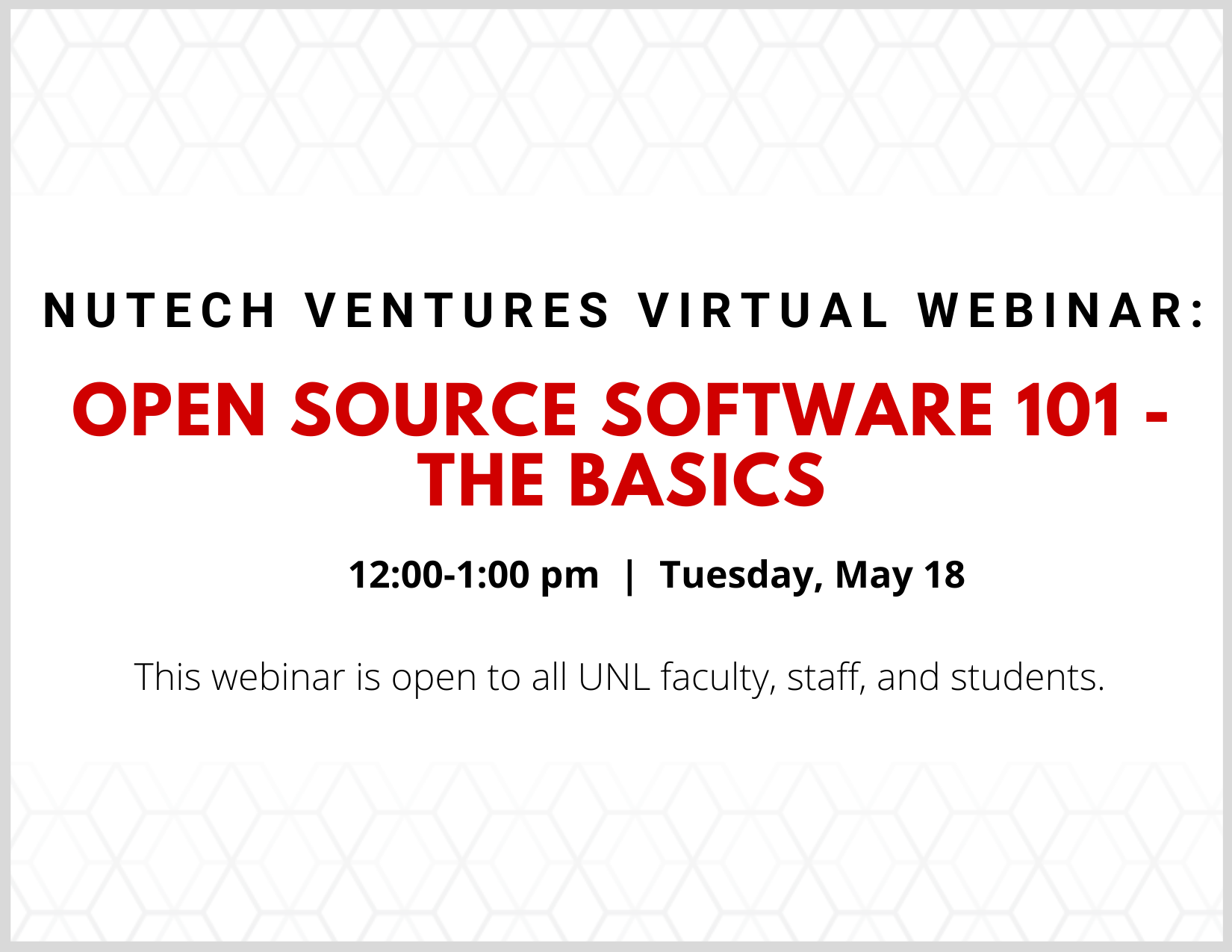 The webinar will be led by attorneys who will discuss the benefits of the open source community, common licenses and the software's effect on university technology commercialization.