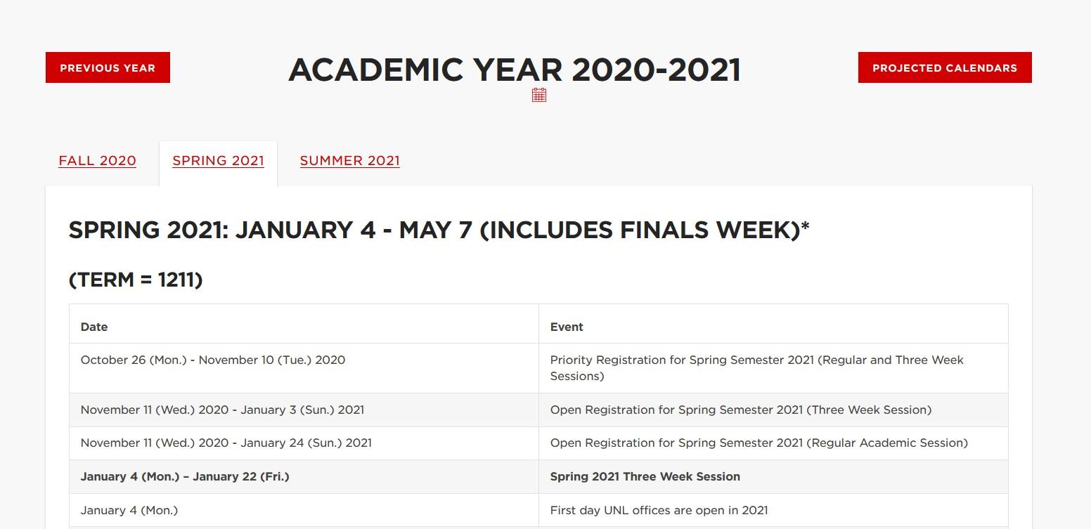 Umn Academic Calendar 2022.Important Academic Dates Announce University Of Nebraska Lincoln