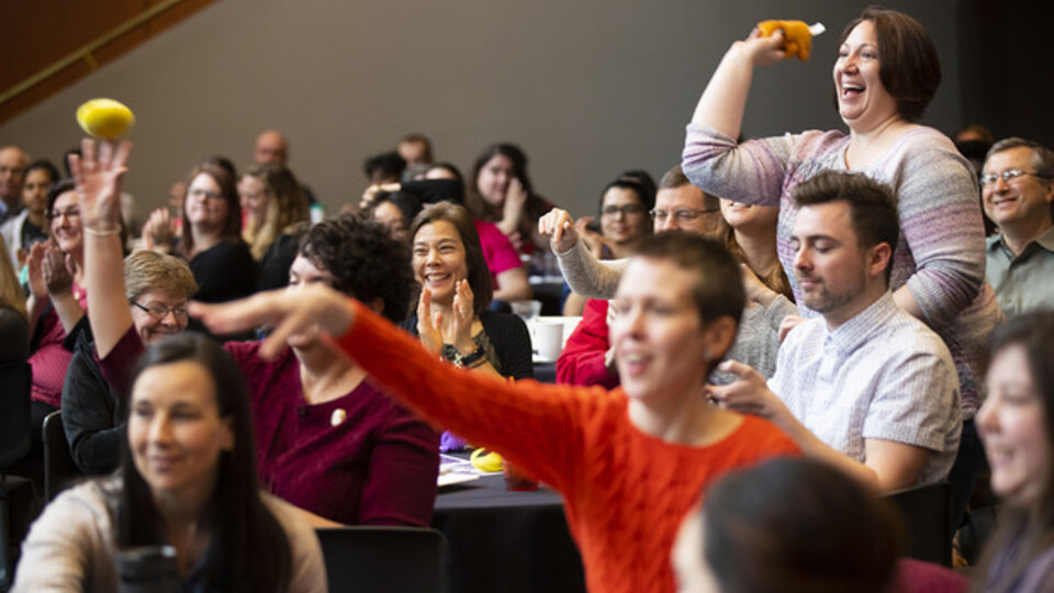 The crowd cheers and throws teddy bears at the 2019 Science Slam. Courtesy photo