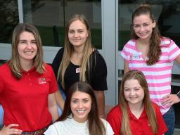 (L–R front row) Payton Flower, Ellie Babcock; (back row) Stephanie Stephens, Ina Yarmolyuk, Alaina Kauffman