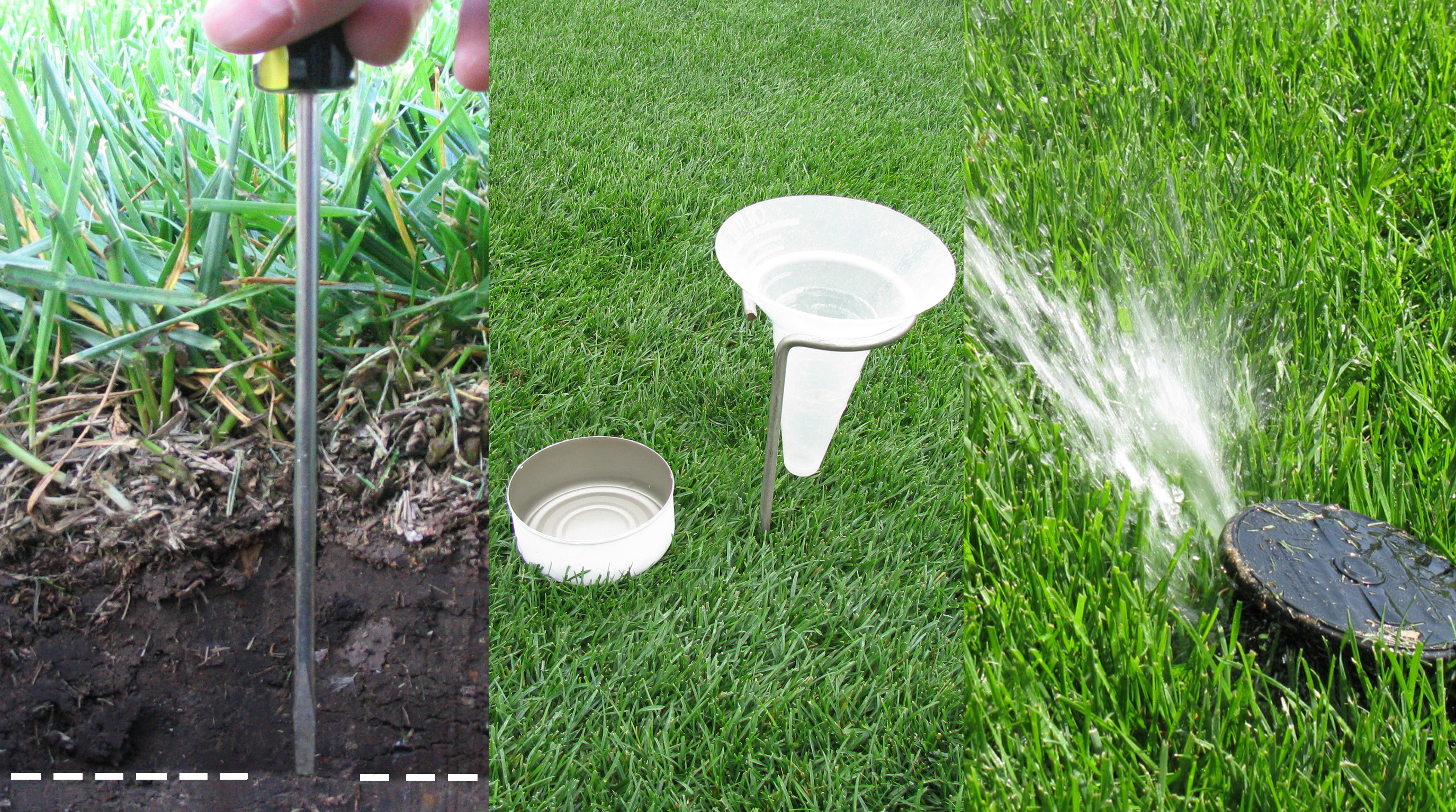 (Left) Screwdriver or other probe can help figure how deep water has penetrated soil. (Center) Irrigation water measuring devices can include a tuna can or catch cup. (Right) Irrigation head needing adjustment to set output nozzle higher above grass.