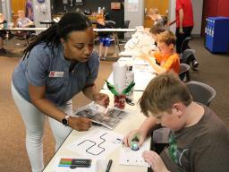 "4-H staff member Erika Murray presented ""Ozobot Robots"" (Photo by Vicki Jedlicka, Nebraska Extension in Lancaster County)"