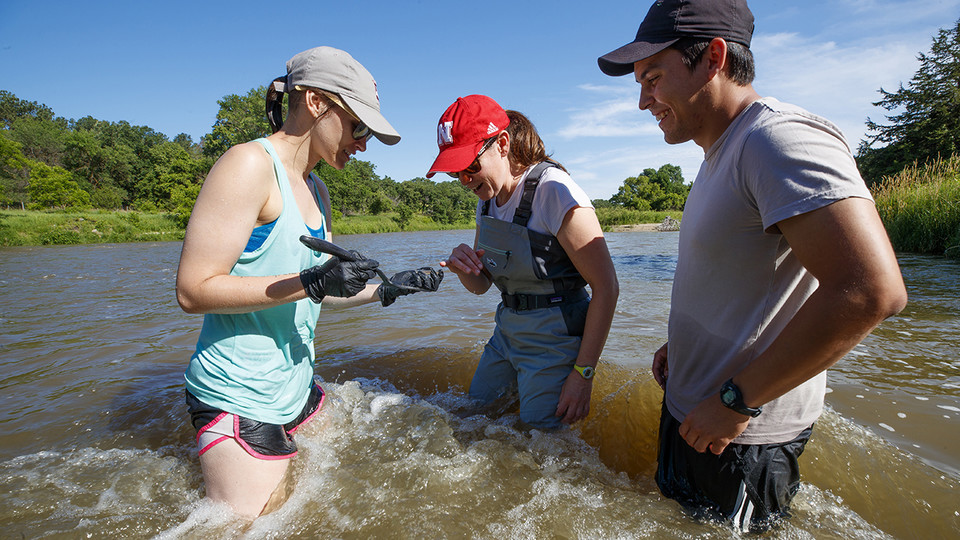 Kayla Vondracek (from left), Jessica Corman and Matthew Chen take a look at an algae sample while standing in the Niobrara River.