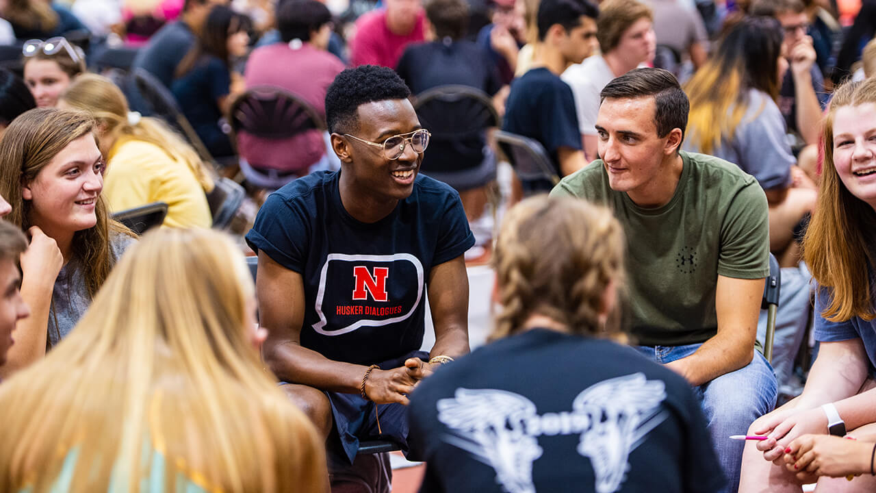 Husker Dialogues is an annual event designed to ignite conversation for first-year students with the goal of empowering individuals to talk, share, listen and learn.