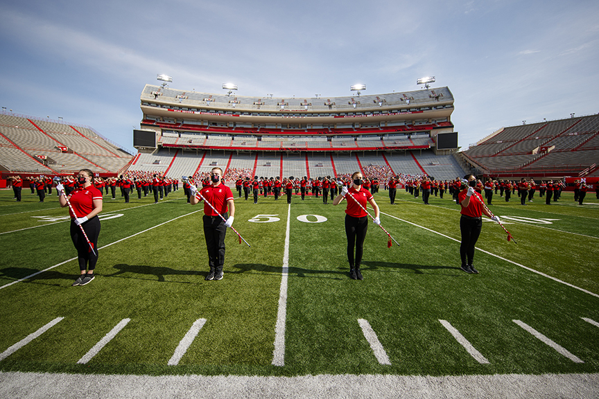 Last year's Cornhusker Marching Band recorded a pregame and halftime performance in Memorial Stadium in October for the virtual game day experience. This year the band will return to performing live at each home game in front of a full stadium of fans. Ph