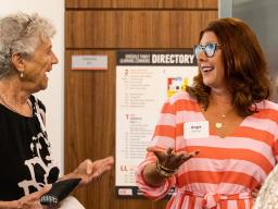 Dr. Carol Swarts (left) chats with Angela Pannier during the July 13 ceremony recognizing Pannier as the inaugural Swarts Family Chair in Biological Systems Engineering.  Loren Rye | Pixel Lab
