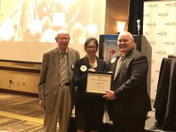 Dr. Martin Massengale and President Eric Drumheller presented the 2021 Miller Math Award to Yvonne Lai.