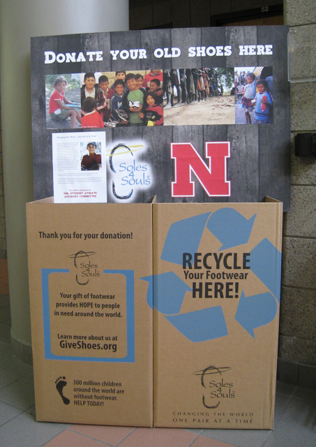 UNL students, faculty, and staff can drop off new and gently used shoes at donation boxes like this one in the Campus Rec Center. The Student Athlete Advisory Committee's goal is to collect 20,000 by the end of April 2012.