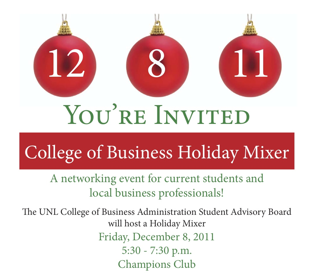 College of Business Holiday Mixer | Announce | University of Nebraska-Lincoln