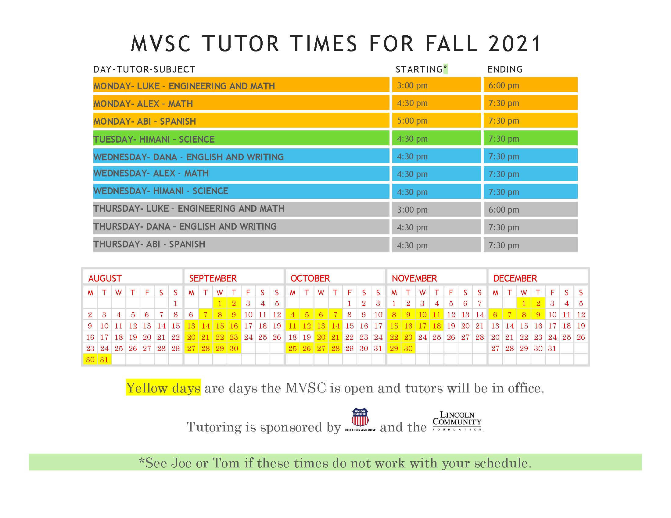 MVSC Tutor Times for Fall