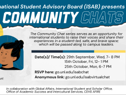Poster for the Community Chat Series