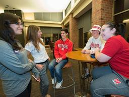 Students gather in Knoll Residential Center.