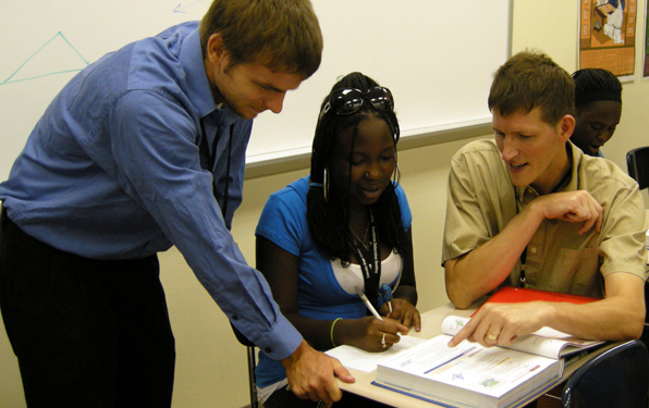 Noyce Teaching Fellow Charles James and mentor Pat Janike (right)