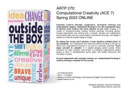 ARTP 270: Computational Creativity