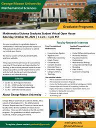 George Mason University Virtual Mathematics Graduate Open House