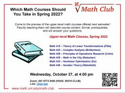 Math Club: Spring 2022 Course Preview Event!