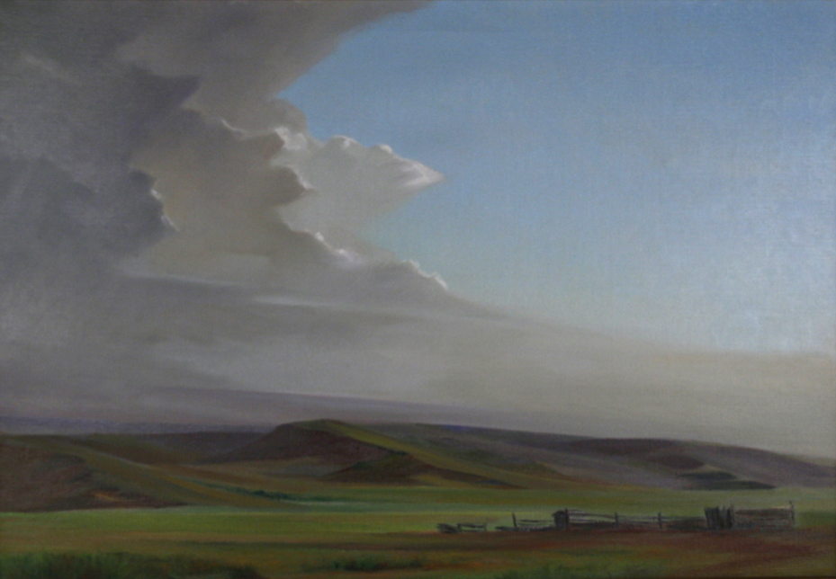 """The """"Transported with Wonder"""" exhibition at the Great Plains Art Museum includes """"High Plains — Range Land,"""" an oil on linen painting by Raymond J. Eastwood. The painting is from the Mark and Carol Moseman Collection."""