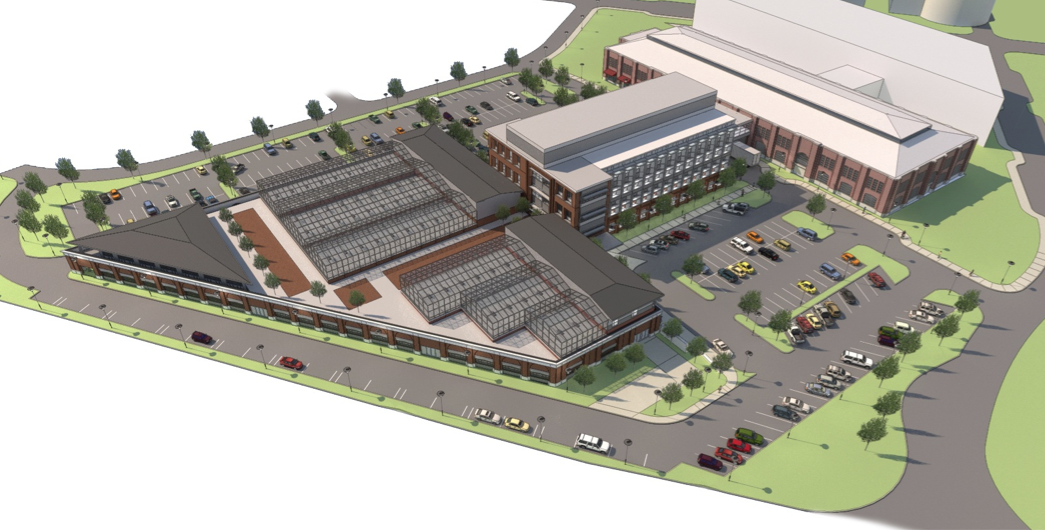 The Industrial Arts Building on Innovation Campus (the trapezoidal-shaped building at left) will be redesigned to include greenhouse space on the second floor. Also pictured is a proposed life-sciences building (center) and the former 4-H Building (right)
