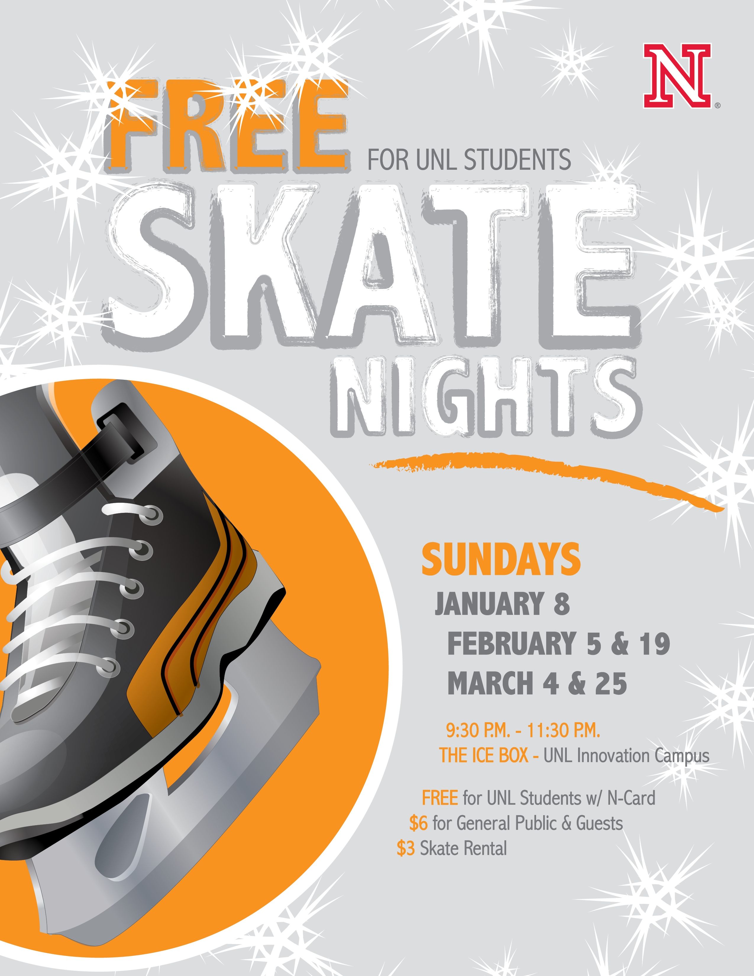 Free Skate Nights during the spring semster are Jan. 8, Feb. 5, Feb. 19, March 4, and March 25.