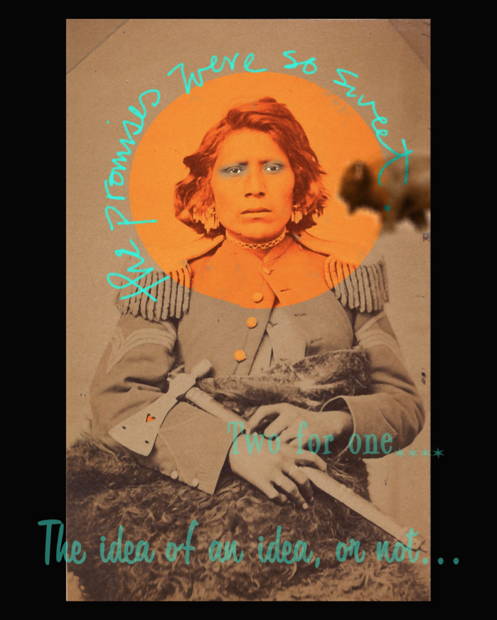 """The Promises Were So Sweet,"" a digital print on poly satin created by Hulleah J. Tsinhnahjinnie."